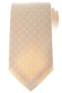 Ermenegildo Zegna Tie Silk Cotton 58 x 3 3/8 Beige Brown Geometric 10TI0148