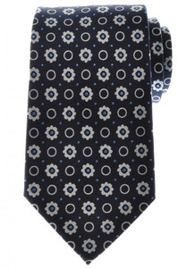Ermenegildo Zegna Tie Silk 58 x 3 3/8 Navy Blue White Geometric 10TI0172