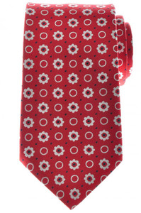 Ermenegildo Zegna Tie Silk 57 3/4 x 3 3/8 Red Blue White Geometric 10TI0171