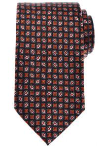Brioni Tie Silk 59 1/2 x 3 1/4 Navy Blue Orange White Geometric 03TI0510