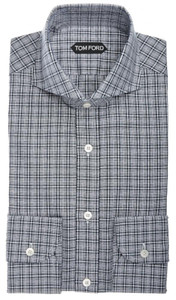 Tom Ford Shirt Spread Collar Cotton 15 1/2 39 Black White Plaid Check 14SH0104