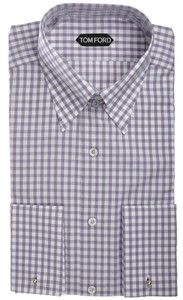 Tom Ford Shirt Tab Collar French Cuff Cotton 15 1/2 39 Purple Check 14SH0116