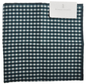 Brunello Cucinelli Pocket Square Double Faced Green White Check 02PS0133