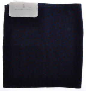 Brunello Cucinelli Pocket Square Linen Cotton Denim Blue Burgundy 02PS0123