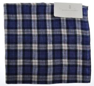 Brunello Cucinelli Pocket Square Linen Blue White Brown 02PS0118