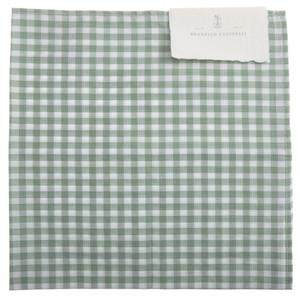 Brunello Cucinelli Pocket Square Cotton Green White Check 02PS0146