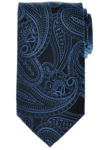 Battisti Napoli Tie Silk 57 1/2 x 3 1/4 Navy Blue Green Paisley 41TI0137