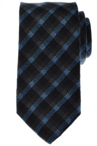 Battisti Napoli Tie Wool Silk 59 1/4 x 3 1/4 Blue Brown Check 41TI0128