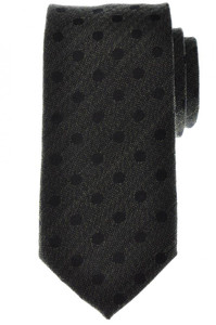 Battisti Napoli Tie Silk Wool Green Black Polka Dot 41TI0156