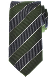Battisti Napoli Tie Silk 58 1/2 x 3 1/4 Green Gray Blue Stripe 41TI0163
