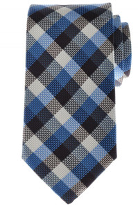 Battisti Napoli Tie Silk 59 1/2 x 3 1/4 Blue Brown White Check 41TI0161