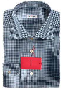 3b014ec621 Kiton Napoli Dress Shirt Cotton 15 3 4 40 Blue Gray Check 01SH0197 ...
