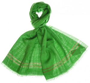 """Cesare Attolini Scarf Silk Linen 74"""" x 30"""" Green Solid 09SF0121"""
