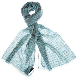 "Cesare Attolini Scarf Cashmere Cotton 72"" x 27"" Blue Geometric 09SF0113"