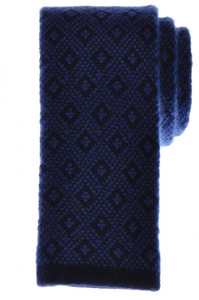 Cesare Attolini Napoli Cashmere Knit Tie 57 x 2 1/2 Blue Geometric 09TI0059