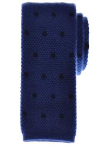 Cesare Attolini Napoli Cashmere Tie 57 1/2 x 2 5/8 Blue Polka Dot 09TI0057