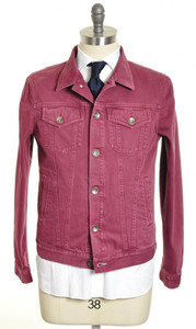 Brunello Cucinelli Denim Jeans Jacket Cotton 52 Large Red 02OT0052