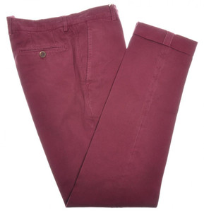Brunello Cucinelli Pants Cotton Twill 38 54 Red Burgundy Solid 02PT0129