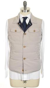 Brunello Cucinelli Vest Polyester Down 50 Medium Brown-Gray Solid 02OT0036