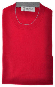 Brunello Cucinelli Sweater Crewneck W/ Pocket Cotton 48 Small Red 02SW0357