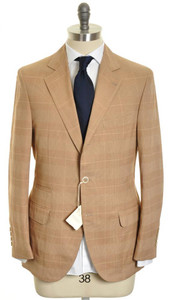 Brunello Cucinelli Sport Coat Blazer Cotton 50 40 Brown Plaid 02SC0108