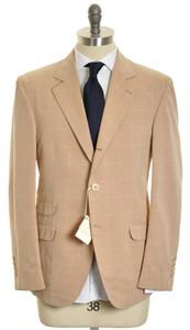 Brunello Cucinelli Sport Coat Blazer Cotton 52 42 Brown Windowpane 2SC0105