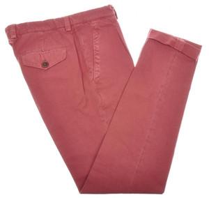 Brunello Cucinelli Pants 1 Pleat Cotton Canvas 32 48 Red Dark Pink 02PT0182