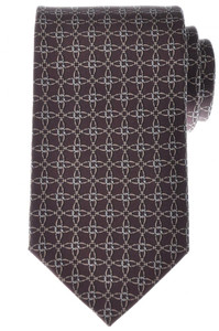 Gucci Tie Silk 57 1/2 x 3 1/4 Brown Geometric Print 19TI0151