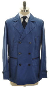 Kiton Napoli Overcoat Rain Coat Cotton Silk 50 Medium Large Blue 01OT0113