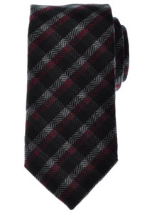 Battisti Napoli Tie Wool Silk 59 x 3 1/4 Black Red Plaid Check 41TI0127
