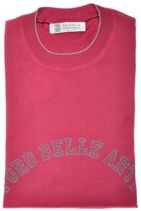 Brunello Cucinelli T-Shirt Cotton Knit 48 Small Dark Pink-Red 02TS0119
