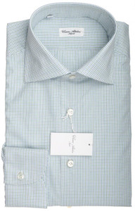 Cesare Attolini Napoli Dress Shirt Cotton 16 1/2 42 Green Check 09SH0108