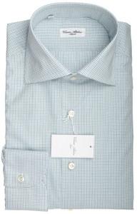 Cesare Attolini Napoli Dress Shirt Cotton 15 3/4 40 Green Check 09SH0107