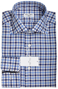 Cesare Attolini Napoli Dress Shirt FC Cotton 15 1/2 39 Blue Check 09SH0110