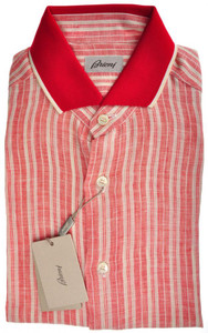 Brioni Polo Shirt Button Down S/S Linen III Medium Red White 03PL0123