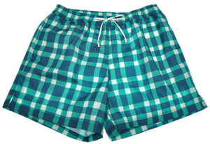 Brioni Luxury Swimwear Swim Suit Trunks Medium Blue Green 03SW0105