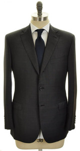 Brioni Suit Brunico Flat Front Wool 40 50 Gray Burgundy Plaid