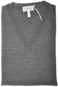 Brioni Sweater V-Neck Extrafine Wool 58 XXXLarge Gray 03SW0153