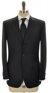 Brioni Suit Chigi 3B Wool Silk 38 48 Navy Blue W/ Gray Stripe