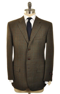 d'Avenza Suit 4 Button Wool 42 52 Green Blue Brown Plaid 37SU0105