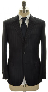 Brioni Suit Brunico 180s Wool 38 48 Navy Blue W/ Gray Stripe