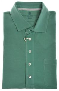 "Brunello Cucinelli Polo Shirt Cotton ""Slim Fit"" 50 Medium Green 02PL0117"