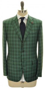 Isaia Sport Coat Jacket 'S Base' Wool 140s 40 50 Green Blue Check 06SC0103