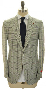 Isaia Sport Coat Jacket Dustin Wool Blend 40 50 Gray Green Check 06SC0102