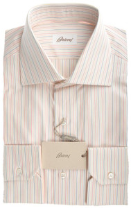 Brioni Dress Shirt Fine Cotton 15 3/4 40 White Blue Orange Stripe 03SH0237