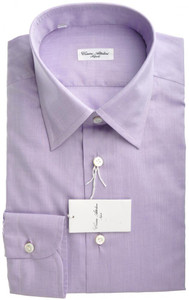 Cesare Attolini Napoli Dress Shirt Cotton 15 3/4 40 Purple Solid 09SH0131