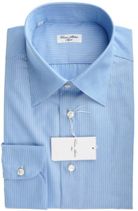 Cesare Attolini Napoli Dress Shirt Cotton 17 1/2 44 Blue Stripe 09SH0125
