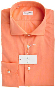 Cesare Attolini Napoli Dress Shirt Cotton 16 41 Orange Solid 09SH0150