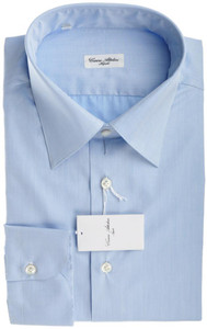 Cesare Attolini Napoli Dress Shirt Cotton 18 45 Blue Solid 09SH0145