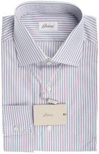 Brioni Dress Shirt Fine Cotton 16 1/2 42 White Blue Red Stripe 03SH0244
